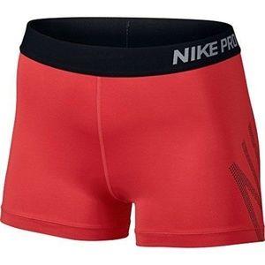 Nike 3 Inch Logo Pro Cool Sports Shorts Red Black